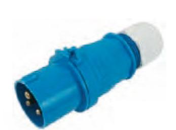 Fiche male bleue avec presse-étoupe étanche EU000486
