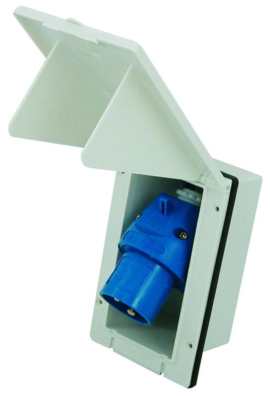 Fiche mâle bleue CEE P 17 avec presse-étoupe EU001462