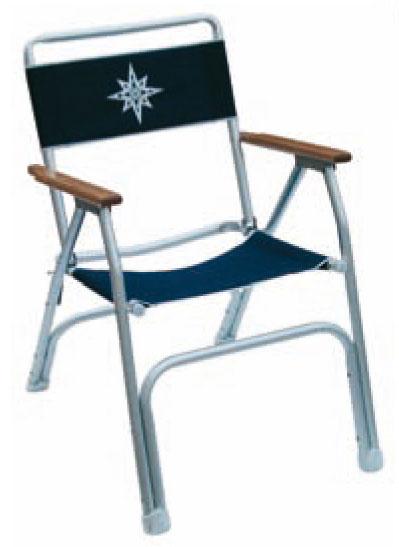 Chaise pliante aluminium satinée toile bleue - EU004303