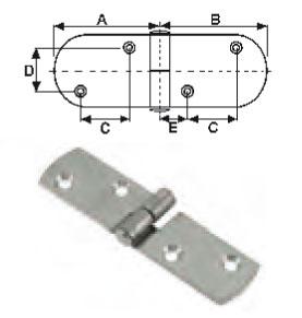 Charnières inox L78 x l20 - EU004430 (lot de 6) A0319