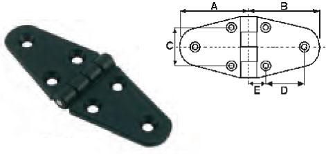 Charnière nylon noir L110 x l40 - EU004659 (lot de 4) A0619