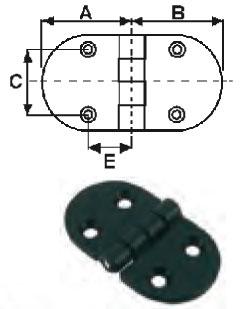 Charnière nylon noir L70xl40 EU004661 (lot de 2) A0619