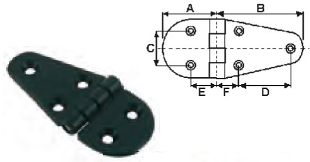 Charnières nylon noir L90xl40 (lot de 6) EU004662 A0619