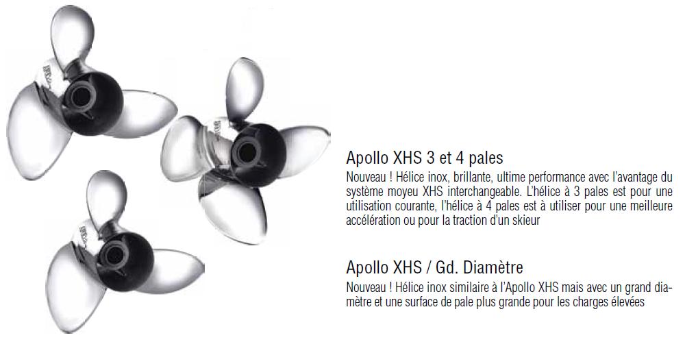 Hélice MICHIGAN APOLLO en inox 3 pales MWC 993024 15 1/4 X 19