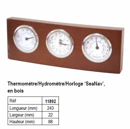 thermometre hydrometre montre support bois 11892