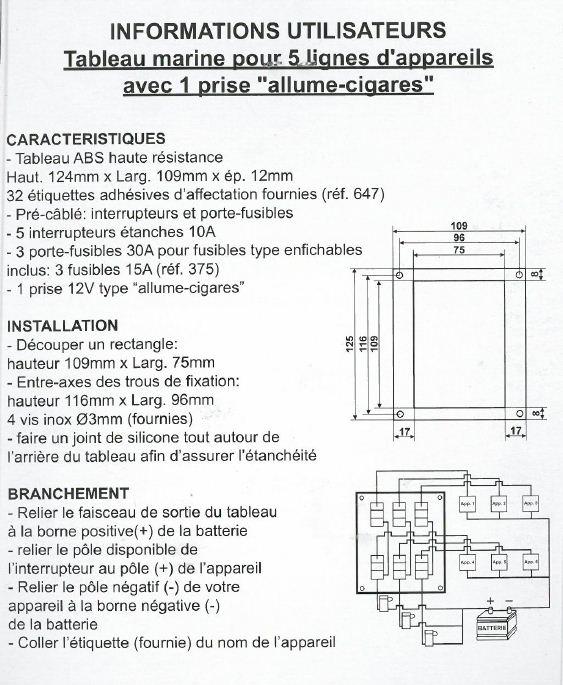Tableau étanche aux embruns ABS blanc EUR 001653